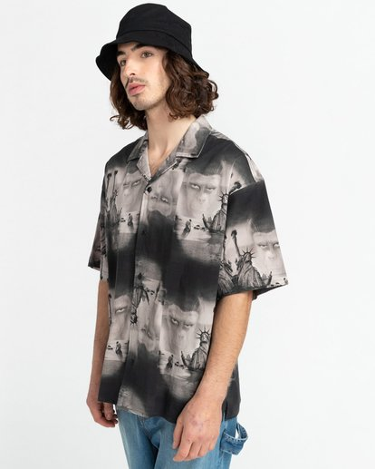 2 Planet of the Apes Paradise Short Sleeve Button-Down Shirt Black ALYWT00124 Element
