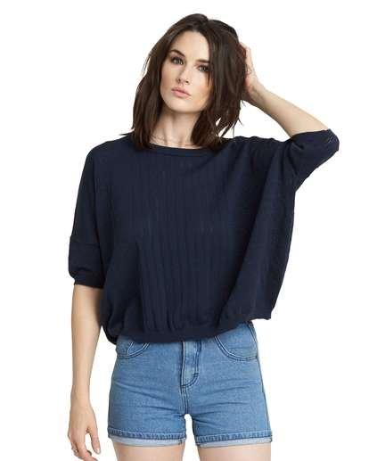 1 Memories Oversized Sweater Top Blue JV99NEME Element
