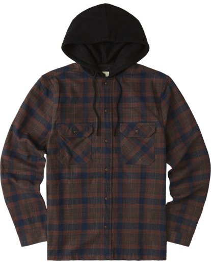 0 Wentworth Hooded Flannel Shirt Blue M554VEWB Element