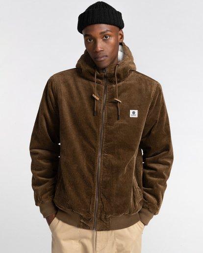 1 Dulcey Corduroy - Water-Resistant Jacket for Men Brown Z1JKE1ELF1 Element