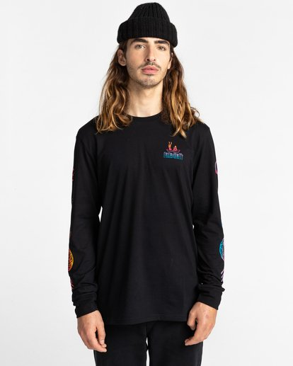 2 Cabeza - Camiseta de Manga Larga para Hombre Negro Z1LSD4ELF1 Element
