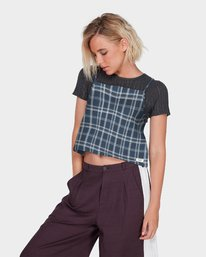 2 LOOPED CHECK CAMI TOP Blue 284218 Element