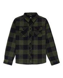 0 Boys' Tacoma 2 Long Sleeve Flannel Shirt Green ALBWT00100 Element