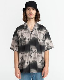 1 Planet of the Apes Paradise Short Sleeve Button-Down Shirt Black ALYWT00124 Element