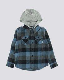 0 Boy's Tacoma Hooded Flannel Shirt Blue B551QETL Element