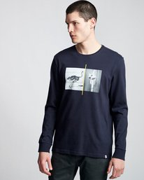 0 Ostrich Apse - Long Sleeve T-Shirt Blue Q1LSB4ELF9 Element