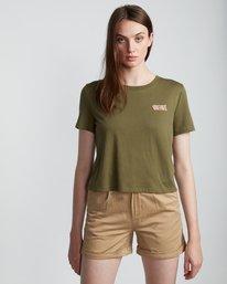 3 Branded Crop - T-Shirt aus Bio-Baumwolle für Damen Grün S3SSA4ELP0 Element