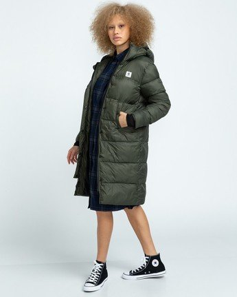 1 Wolfeboro Dulcey Long Puffer Jacket Green J7243EDL Element