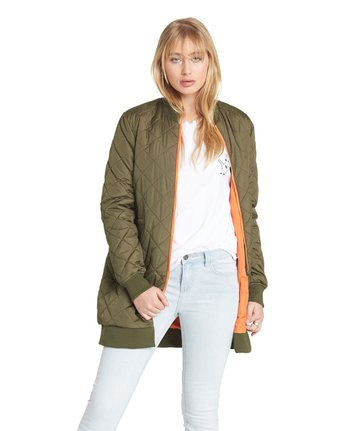 4 Sharpen Longline Bomber Jacket Green J791QESH Element