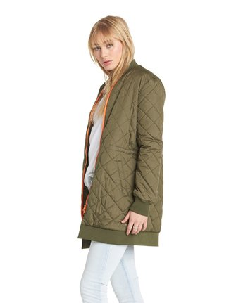 5 Sharpen Longline Bomber Jacket Green J791QESH Element
