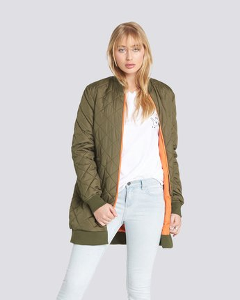 1 Sharpen Longline Bomber Jacket Green J791QESH Element