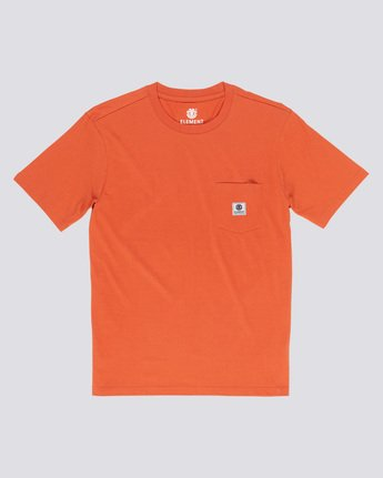 0 Basic Pocket Label - Short Sleeve T-Shirt for Men Orange N1SSG3ELP9 Element