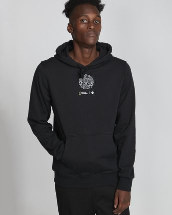 1 National Geographic Roots Fleece - Recycled Hoodie for Men Black S1HOC5ELP0 Element