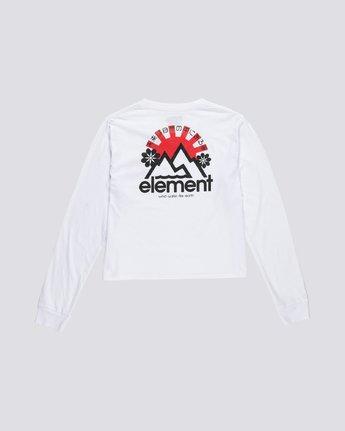 1 Rising Crop - Organic Cotton Long Sleeve T-Shirt for Women White S3LSA2ELP0 Element