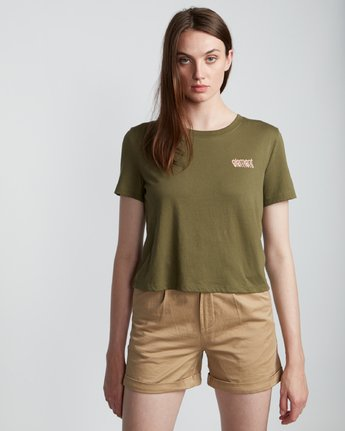 3 Branded Crop - Organic Cotton Short Sleeve T-Shirt for Women Green S3SSA4ELP0 Element