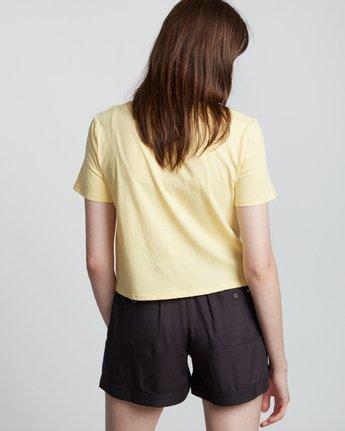 2 Branded Crop - T-Shirt manches courtes en coton biologique pour Femme Jaune S3SSA4ELP0 Element