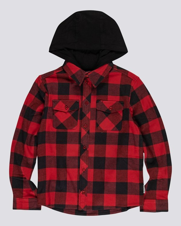0 YOUTH TACOMA LONG SLEEVE FLANNEL SHIRT Red 602211 Element