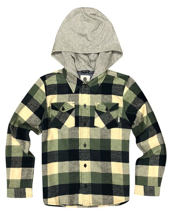 0 Boy's Tacoma Hooded Flannel Shirt Green B551QETL Element