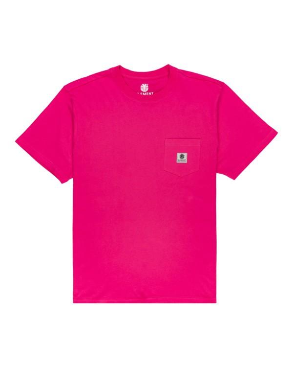 0 Basic Pocket Label - Short Sleeve T-Shirt Red N1SSG3ELP9 Element