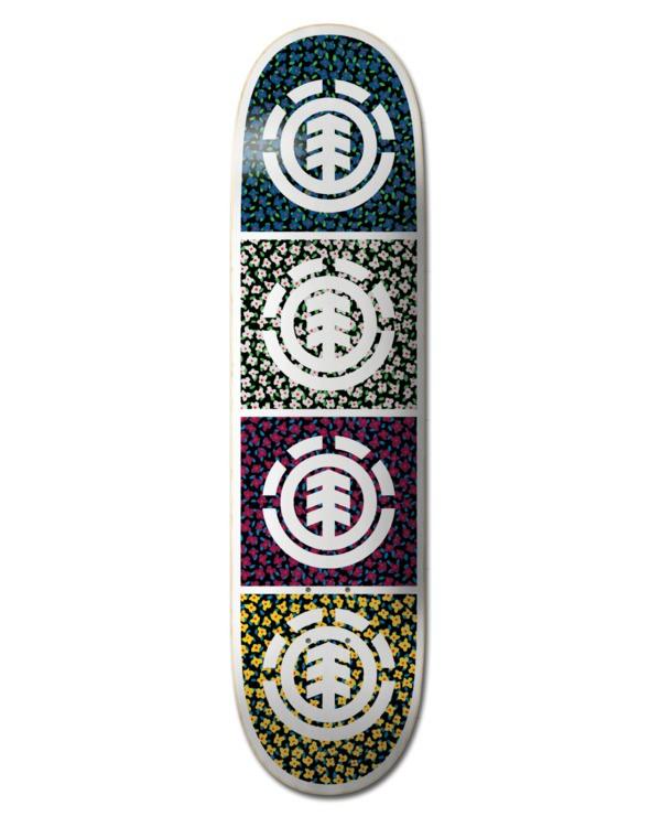 """0 7.5"""" Ditsy Quad - Skateboard Deck Black W4DCD5ELP1 Element"""