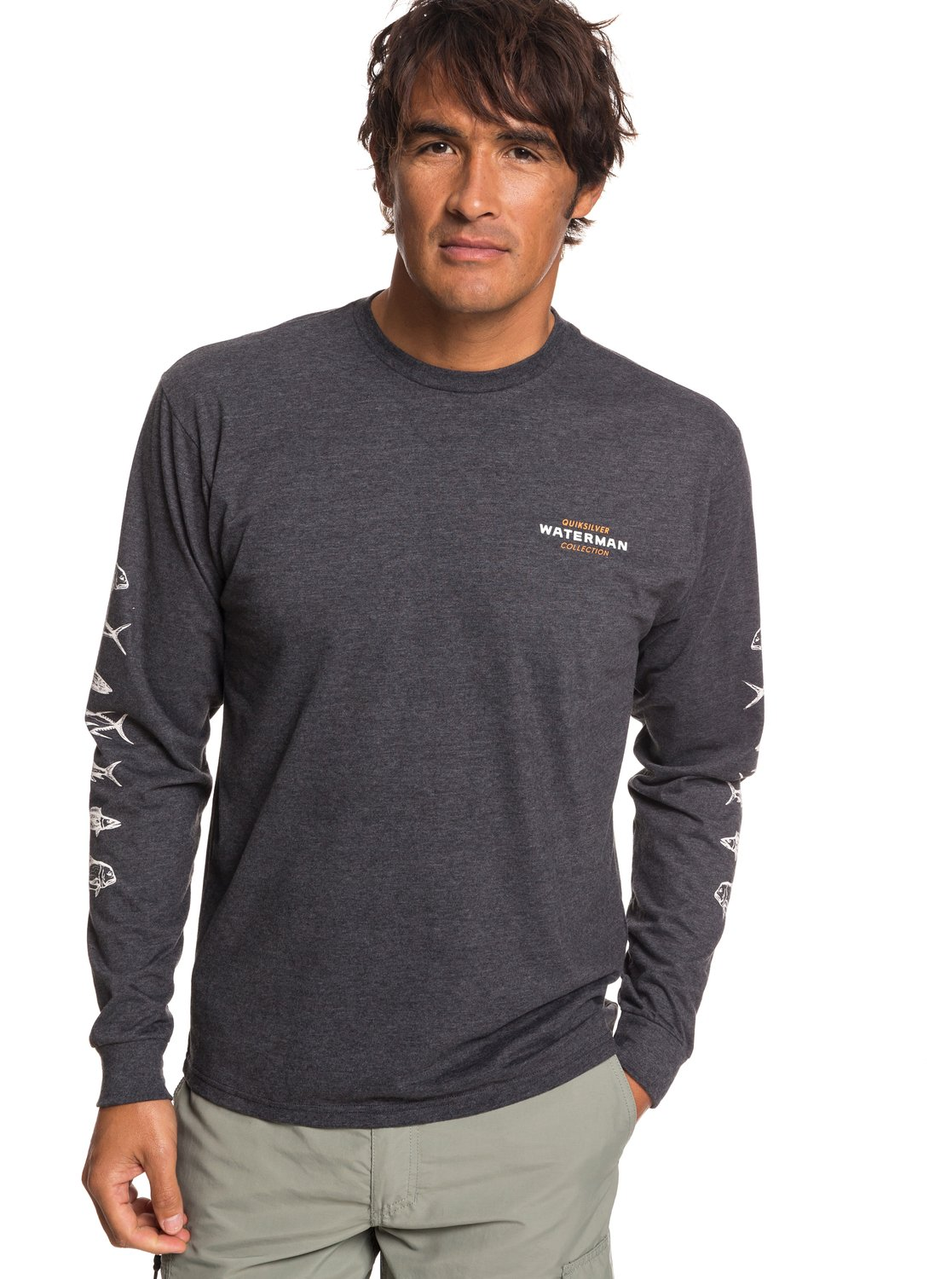 a569e1a92483 0 Waterman Aztec Fish Long Sleeve Tee Black AQMZT03356 Quiksilver