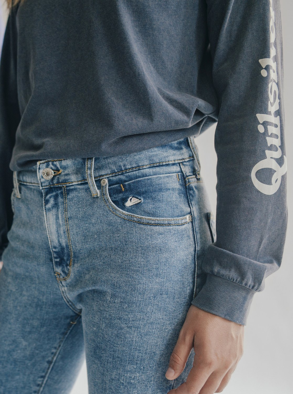 ff82d036df 2 Quiksilver Womens High Rise Skinny Fit Jeans Blue EQWDP03000 Quiksilver