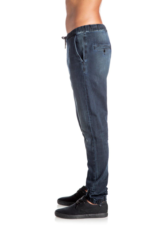 Joggingbroek Van Spijkerstof.Fonic Blue Black Slim Fit Denim Joggingbroek Eqydp03296 Quiksilver