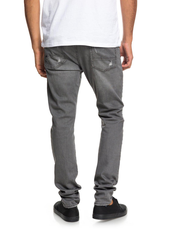 a870cdb8b536 4 Low Bridge Grey Damaged - Slim Fit Drop Crotch Jeans for Men Grey  EQYDP03371 Quiksilver