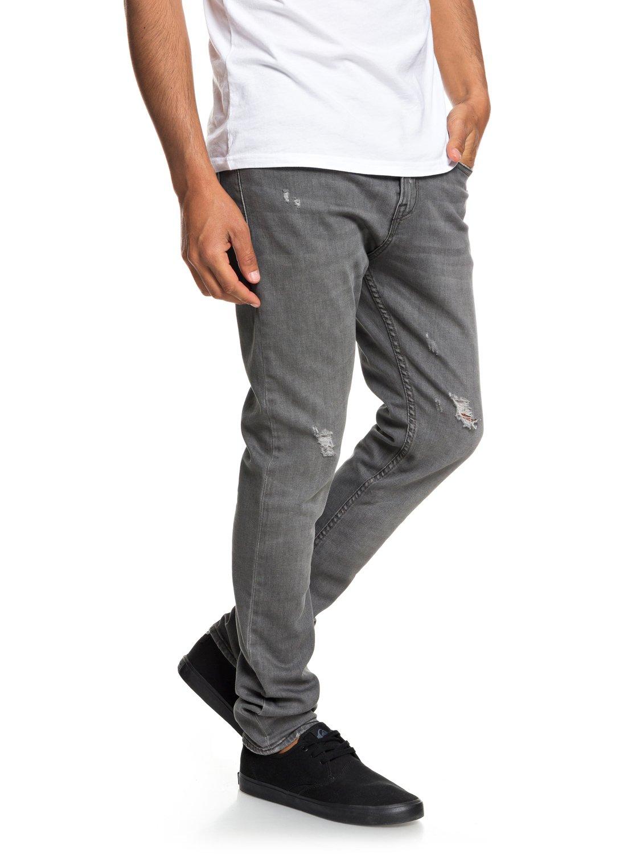 aef7acea8626 1 Low Bridge Grey Damaged - Slim Fit Drop Crotch Jeans for Men Grey  EQYDP03371 Quiksilver