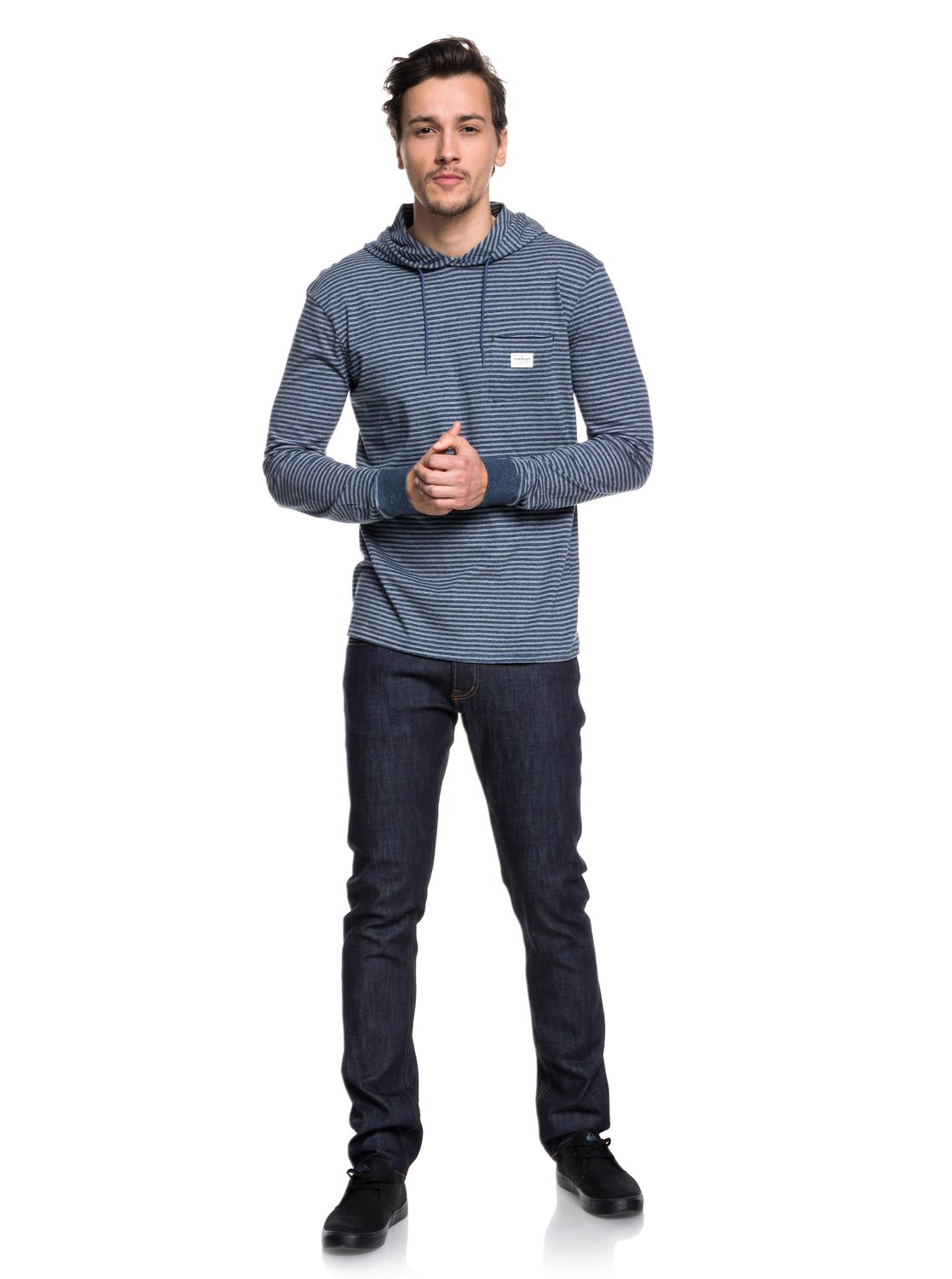 83a248778d02 1 Zermet - Long Sleeve Hooded T-Shirt for Men Blue EQYKT03781 Quiksilver