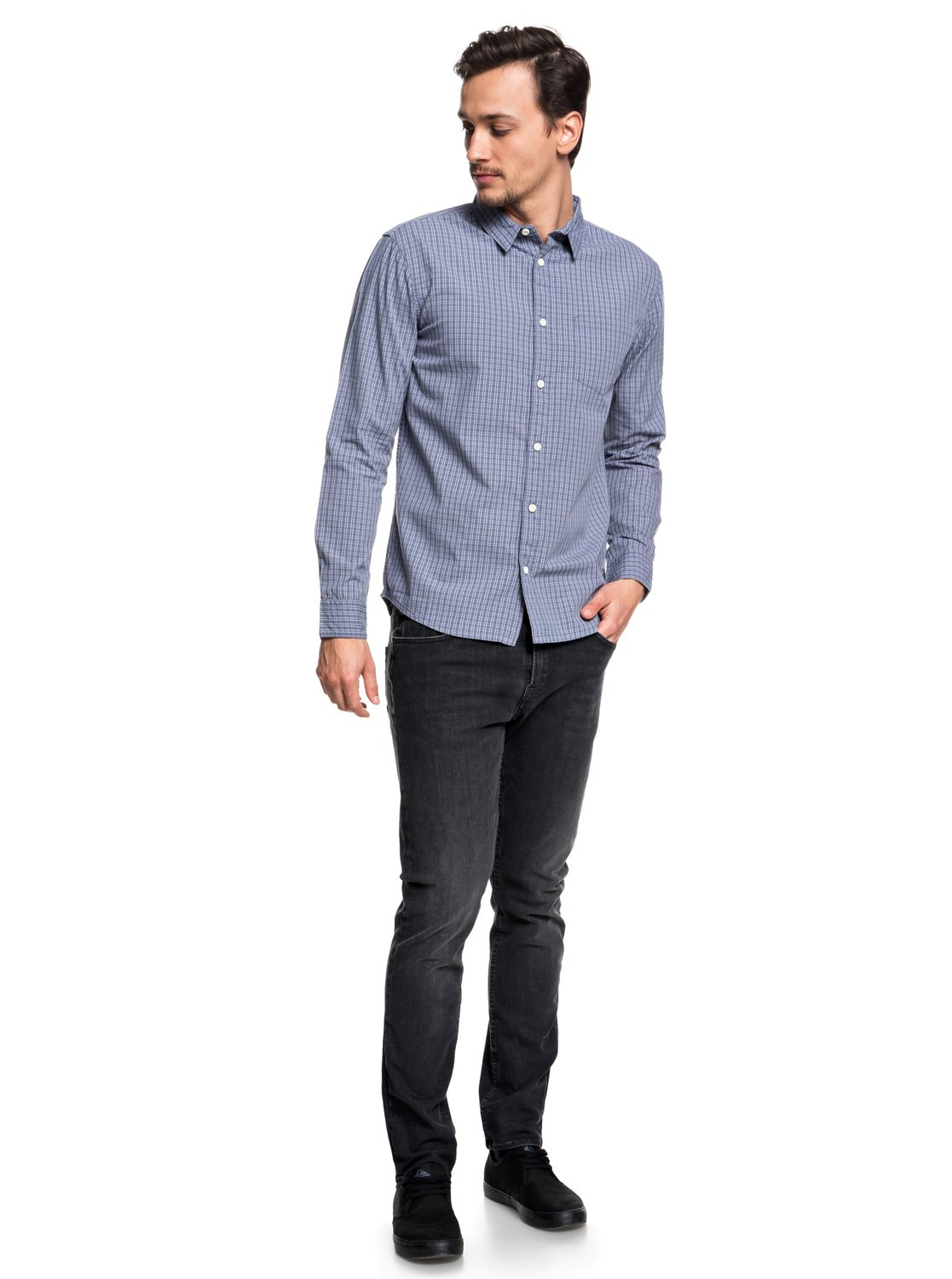 Quiksilver-Everyday-Check-Chemise-a-manches-longues-pour-Homme-EQYWT03722 miniature 6