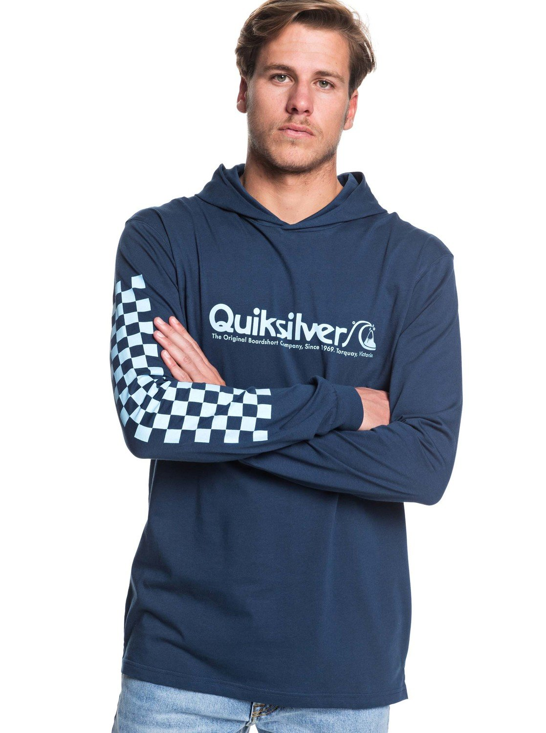 697ecc652670 0 Checkers Mate Long Sleeve Hooded Tee Blue EQYZT05448 Quiksilver