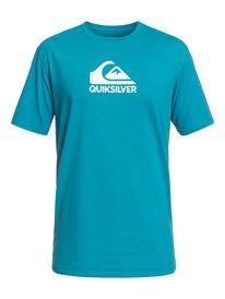 Activewear Quicksilver Mens L Surf Shirt Top Short-sleeves Teal Black Mock Neck Logo Bright In Colour