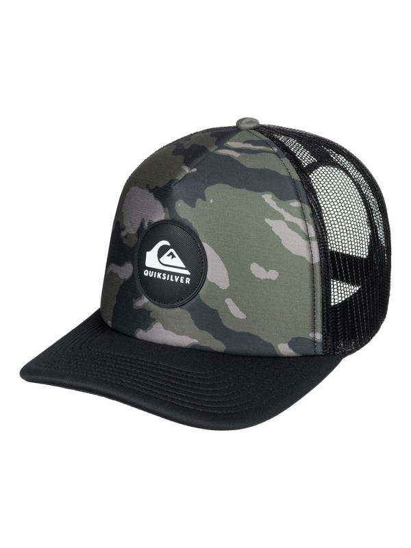0 Boy's 8-16 Crackles Trucker Hat Green AQBHA03321 Quiksilver