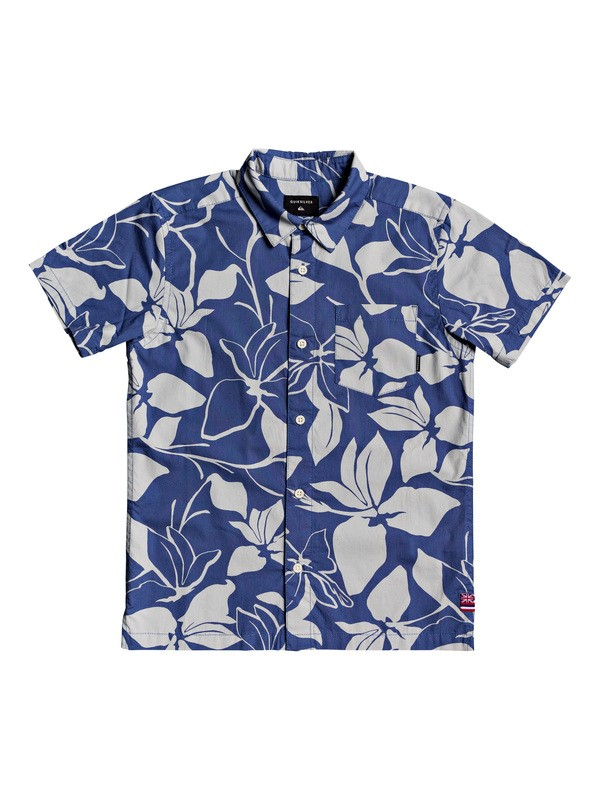 0 Boy's 8-16 HI Makala Short Sleeve Hawaiian Shirt Blue AQBWT03035 Quiksilver