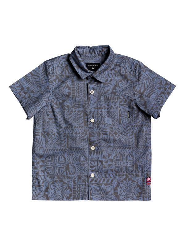0 Boy's 2-7 HI Hyper Printed Short Sleeve Shirt Blue AQKWT03040 Quiksilver