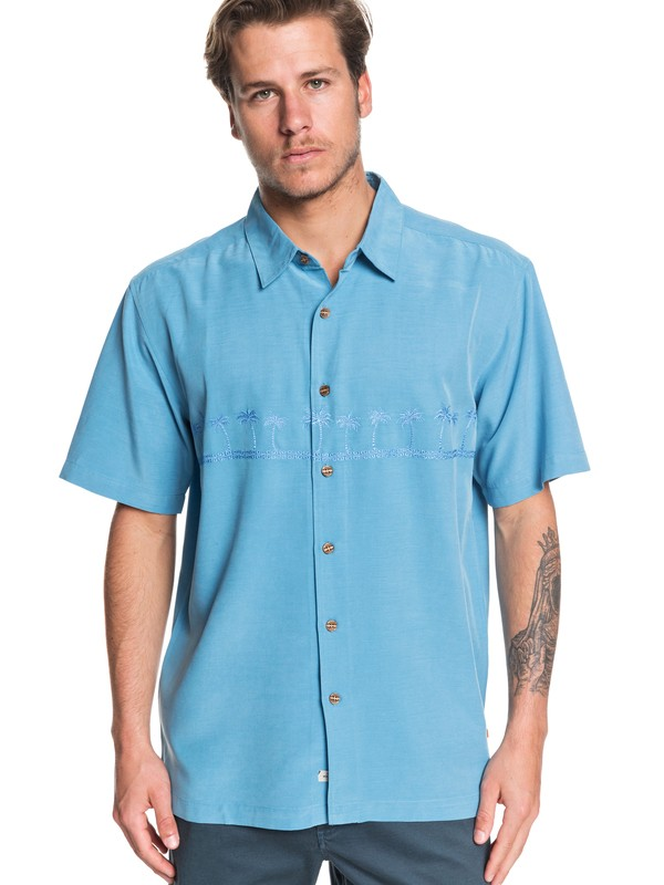 0 Waterman Tahiti Palms Short Sleeve Shirt Blue AQMWT03356 Quiksilver