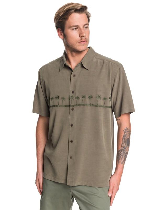 0 Waterman Tahiti Palms Short Sleeve Shirt Brown AQMWT03356 Quiksilver