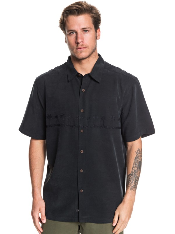 0 Waterman Tahiti Palms Short Sleeve Shirt Black AQMWT03356 Quiksilver