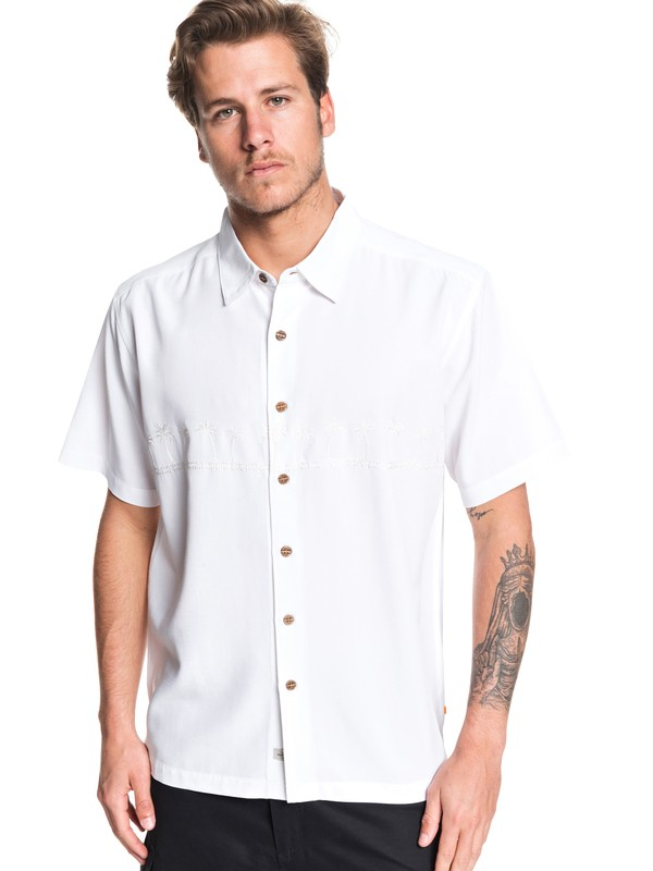 0 Waterman Tahiti Palms Short Sleeve Shirt White AQMWT03356 Quiksilver