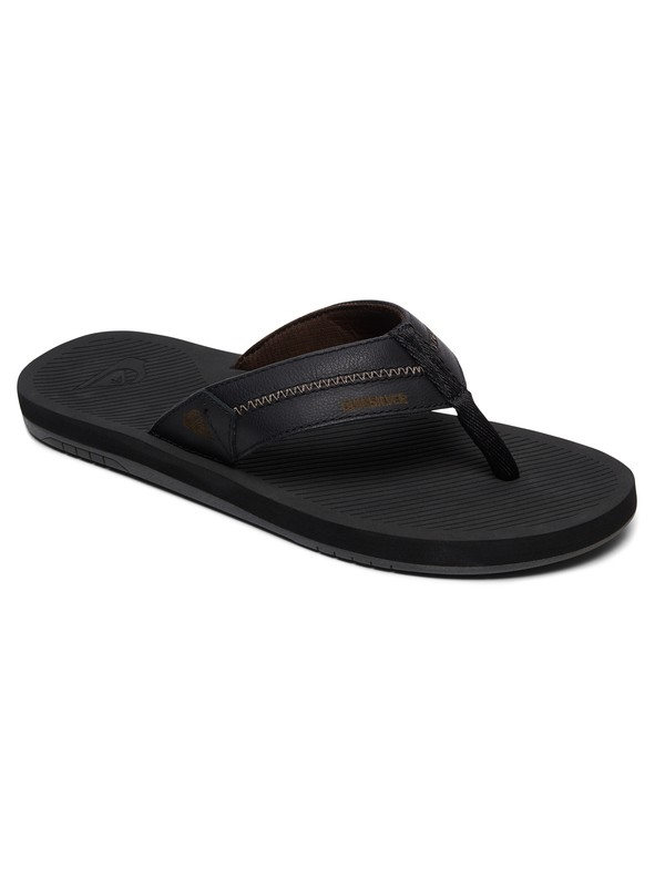 0 Coastal Oasis Deluxe Leather Sandals Black AQYL100760 Quiksilver