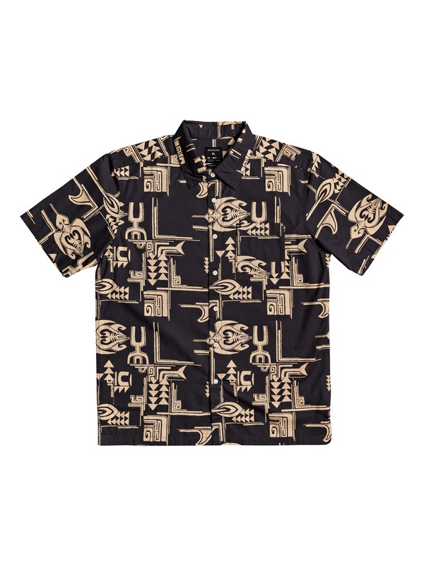 0 HI Dweller Printed Short Sleeve Shirt Black AQYWT03201 Quiksilver