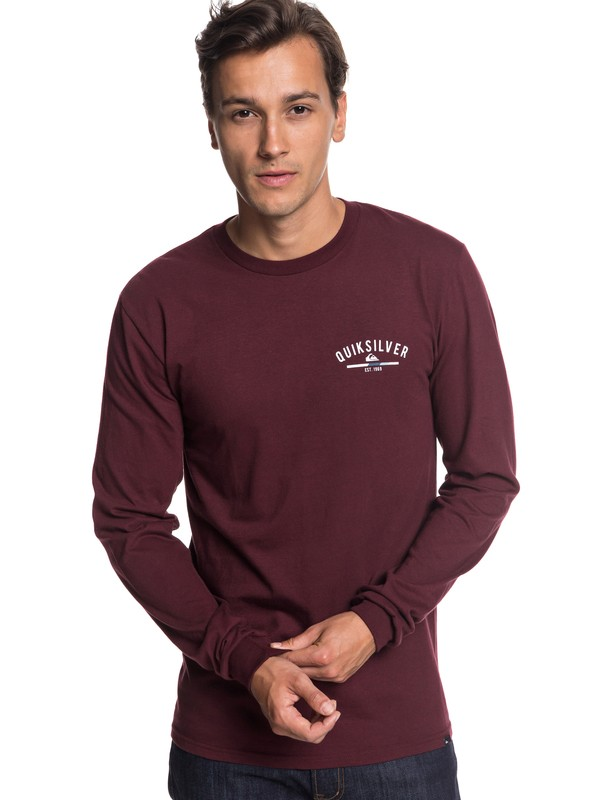 0 Simple Color Long Sleeve Tee Red AQYZT05784 Quiksilver