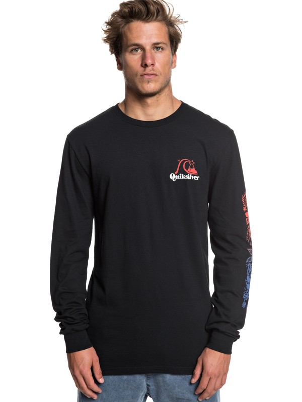 0 Tea Stripe Long Sleeve Tee Black AQYZT05939 Quiksilver