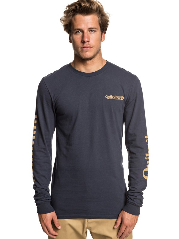 0 Check It Long Sleeve Tee Blue AQYZT05941 Quiksilver