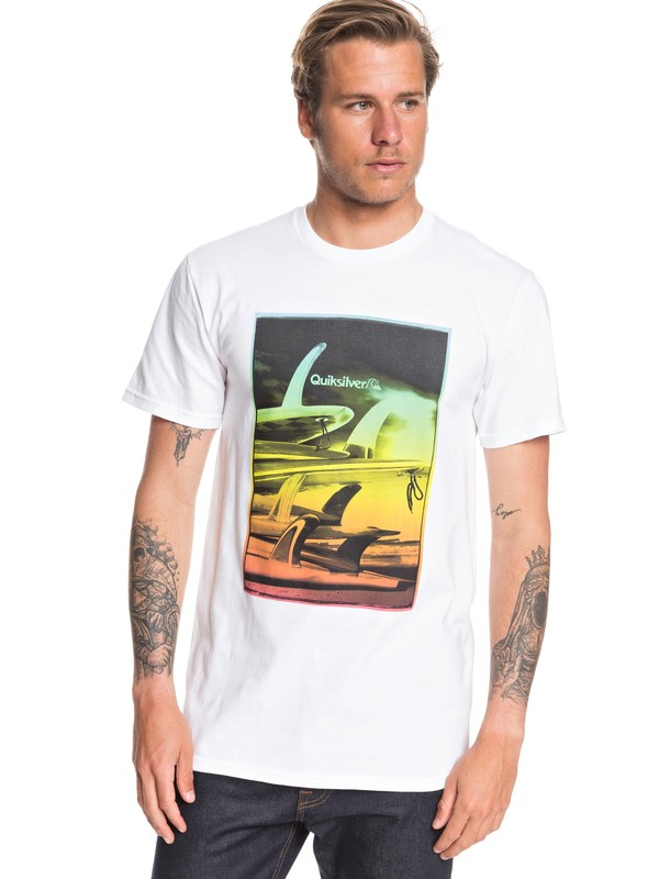 0 Fin Stack Tee White AQYZT06547 Quiksilver