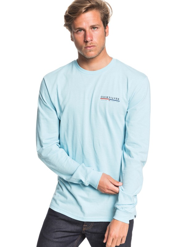 0 Retro Lines Long Sleeve Tee Blue AQYZT06558 Quiksilver
