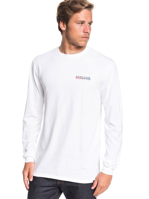 0 Retro Lines Long Sleeve Tee White AQYZT06558 Quiksilver