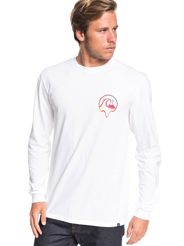 0 Melted Mix Long Sleeve Tee White AQYZT06559 Quiksilver