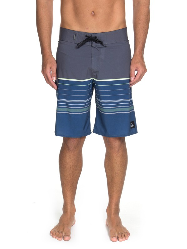 "0 Bermuda Boardshort Slab Stripe 21"" Quiksilver Azul BR60012597 Quiksilver"